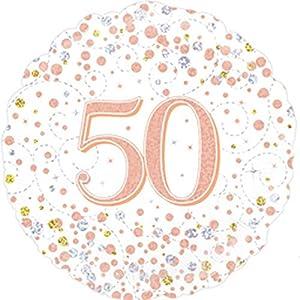 """OakTree 227130 - Globo de 50 cumpleaños con texto""""Happy 50th Birthday"""", color blanco y oro rosa, 45,7 cm"""