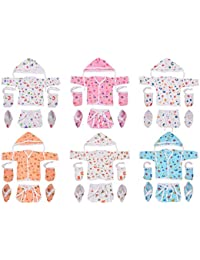 Toddylon® Baby Boy/Baby Girl 6 Shirts with 6 Nappies, 6 Cap and 6 Pairs of Mitten & Booty (0-6 Months) (Assorted)