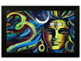 #10: Pintura religious Shiva designer painting with wooden frame (frame size 18
