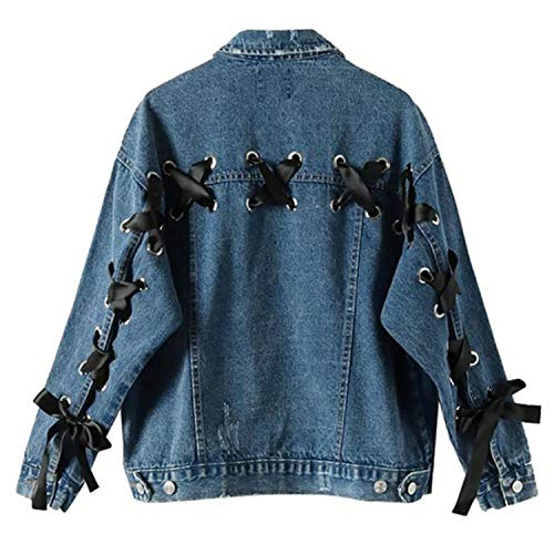 Herbst Frauen Bomberjacke Blue Denim Lace-Up Taschen Einreiher Lose High Street Femme Jeansjacke Blau S