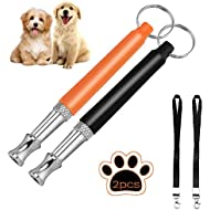 Foocho Dog Whistle, Dog Whistle Stainless Steel Ultrasonic, Professional Adjustable Frequencies & Free Lanyard Strap Black+Orange(2Pack)