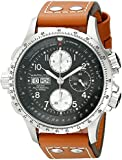 Hamilton Men's Brown Leather Band Steel Case Sapphire Crystal Automatic Black Dial Watch H77616533