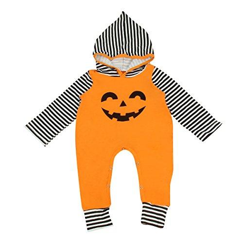 Puseky Baby Jungen Mädchen Halloween Stripe Kürbis Hoodie Spielanzug Strampler Overall Outfit (0-6 Monate, Orange) (0 3 Monat Kürbis Kostüm)