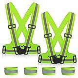 MMTX Warnweste Reflektorweste Reflektierende Signalweste, Hohe Sichtbarkeit, verstellbar & Elastic Outdoor Sicherheitweste mit 4 Reflektierende Armbänder für Laufen, Joggen, Wandern, Radfahren(2 Stk.)
