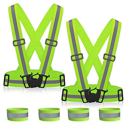 MMTX Gilet riflettente imbracatura di sicurezza con gilet riflettente elastico regolabile ad alta visibilità con bande riflettenti per corsa
