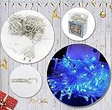 Acobonline - Luci di Natale per la decorazione di feste, matrimoni, luci blu decorative, illuminazione di Natale per interni, per albero di Natale, matrimonio, cavo trasparente 180 LED 16.5M