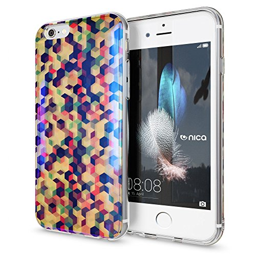 iPhone 6 6S Hülle Handyhülle von NICA, Slim Glitzer TPU Silikon Case Cover Crystal Schutzhülle Dünn Durchsichtig, Handy-Tasche Backcover Transparent Bumper für Apple iPhone-6, Designs:Colored Bokeh Pastel Cubes