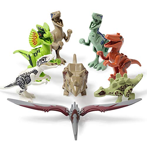 Lehoo Castle Dinosaur Building Blocks, 8 pcs Mini Dinosaur Toys Jurassic World, DIY Dinos Building Block Action Figures, Educational Gift for Kids