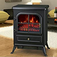 Lincsfire Modern Electric Wall Mounted Fire Place Stove Fireplace Heater Flame Effect Stove