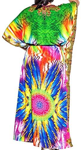 LA LEELA Damen Überdimensional Maxi Kimono Kaftan Tunika Kaftan Damen Top Freie Größe StrandKleider In 11 verschiedenen Farben Caribbean Grün