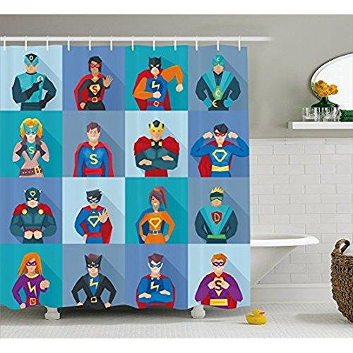 Yeuss Superhero Duschvorhang von, Charaktere mit übernatürlichen Kräften in besonderen Kostümen Comic Strip Humor Print, Stoff Badezimmer Dekor Set mit Haken, Multicolor 72 'x ()