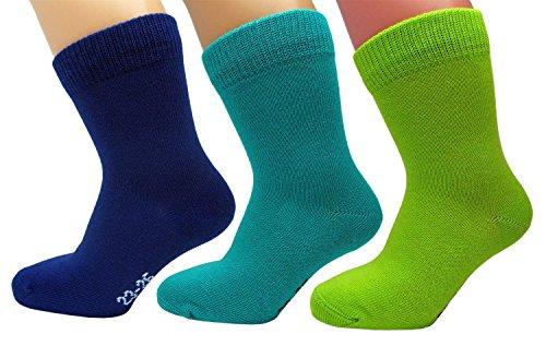 vitsocks 3 Paar Kinder Socken, 98% GEKÄMMTE NATUR BAUMWOLLE, Atmungsaktiv, Kids, 31-34, dreifarbig