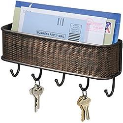 mDesign Portalettere e appendichiavi ? Il modo più pratico per organizzare prospetti, posta e riviste ? Bacheca chiavi con scompartimento portaoggetti ? Bronzo