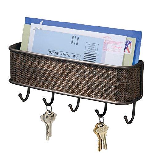 mDesign Briefablage und Schlüsselleiste ? für ordentliche Aufbewahrung von Notizen, Briefen, Prospekten ? mit Hakenleiste für Schlüssel ? bronze
