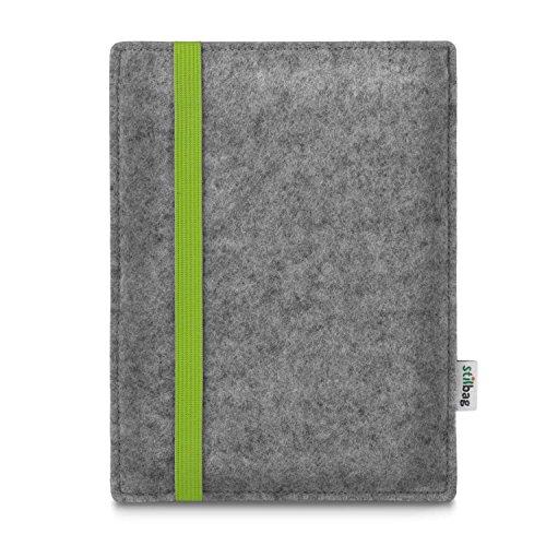stilbag e-Reader Tasche Leon für Tolino Shine 2 HD   Wollfilz hellgrau - Gummiband Lime   Schutzhülle Made in Germany