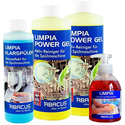 LIMPIA SET (7319) 2x 1000 ml LIMPIA POWER GEL + 1x 500 ml KLARSPÜLER + 1x 300 ml LIMPIA Geschirrspülkonzentrat Spülmaschine Spülmaschinenreiniger Speiserestelöser Spülgutreiniger 20-65 Spülvorgänge