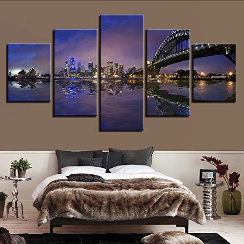 (Wiwhy Moderne Wohnkultur Leinwand Wohnzimmer 5 Panel Sydney Harbour Nachtszene Gedruckt Bilder Wandmalerei Kunst Modulare Poster-40X60/80/100Cm,Without Frame)