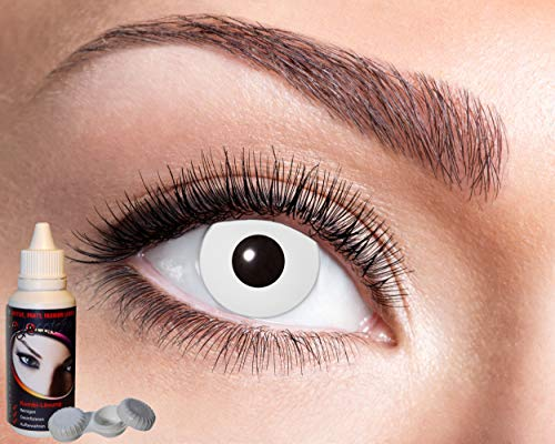 Zoelibat 10118536 Farbige Kontaktlinsen für 12 Monate, 2 Stück, Weiss, BC 8.6 mm/Dia 14.5 mm und Kombilösung für weiche Linsen, 50 ml, mit Behälter