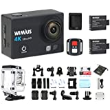 Action Cam, WiMiUS Q3 Camera Sport 4k Full HD 16MP Wifi Etanche 40M, Caméra de Sport Embarquée avec Télécommande + 2 Batteries (Noir)
