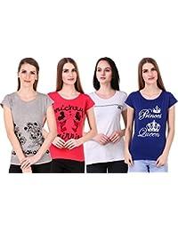 NIVIK Women's Cotton Round Neck Combo Of 4 T-Shirt