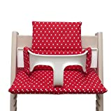 Blausberg Baby - Sitzkissen Kissen Polster Set für Stokke Tripp Trapp Hochstuhl- Einheitsgröße, Rot mit Sternen beschichtet