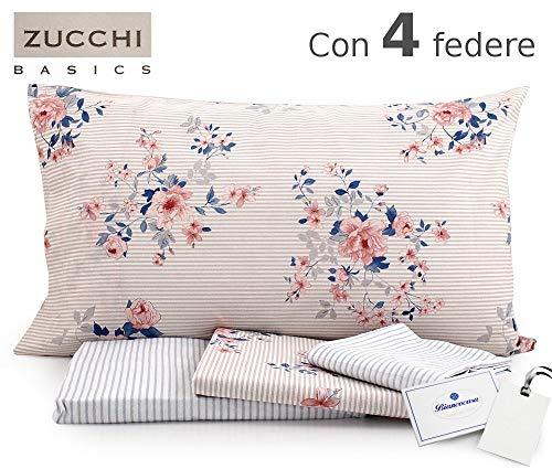 6421f518b3 Zucchi Completo Letto Matrimoniale Basics Art. Charm - con Quattro federe +  tavo