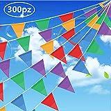 Gudotra 300PCS Drapeaux Fanions Bannières Nylon Triangles Colorés pour Décor de Jardin en Plein Air Intérieur