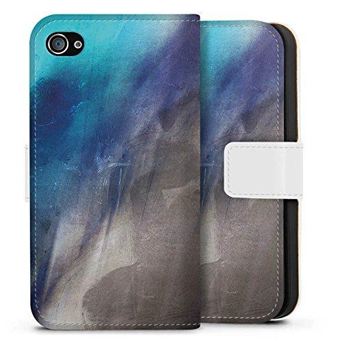 Apple iPhone X Silikon Hülle Case Schutzhülle Wasserfarbe Kunst Pinsel Sideflip Tasche weiß