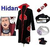 Naruto Akatsuki Hidan Cosplay Kostüm Set (Akatsuki Cloak,Größe:XL: Höhe 177cm-184cm + Hidan Stirnband + Hidan Ring + Naruto Federmäppchen + Ninja Schuhe)