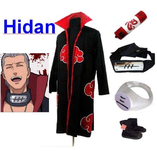 Naruto Akatsuki Hidan Cosplay Kostüm Set (Akatsuki Cloak,Größe:L: Höhe 169cm-176cm + Hidan Stirnband + Hidan Ring + Naruto Federmäppchen + Ninja Schuhe) (Ninja Kostüm Für Verkauf)