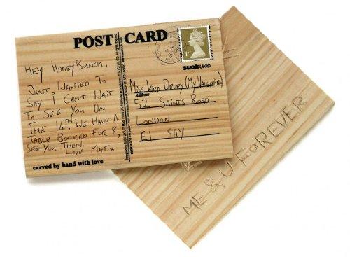 Suck uk cartolina postale personalizzata in legno