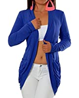 G344 Damen Longshirt Strick Cardigan Jacke Strickjacke Kleid Bluse Lang Taschen