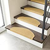 Tapis d'escalier Auto-adhésif en Fibre Naturelle, Tapis de Sol antidérapants, sisal résistant, Set de 2 ou 15, Taille:Set mit 2 Matten...