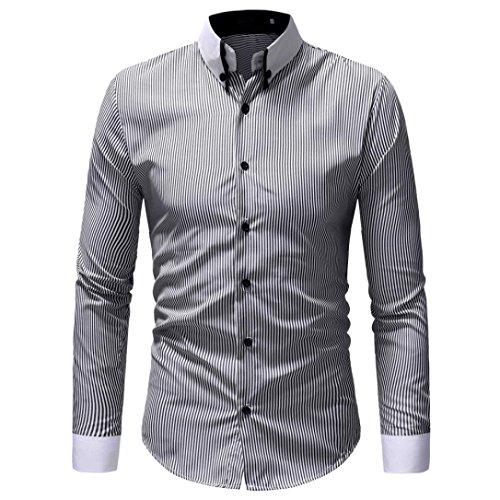friendGG❤❤Männer Tops,Männer Langarm-Shirt Herbst Kleidung Winterkleidung Lässiges OberteilSchlankes Hemd Gestreifte Oberseite Drucken Hemd Oben Business Bluse (Kleidung Mng)