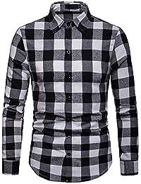 7fd0987341 JOLIME Camisa Hombre Cuadros Blanco y Negro Manga Larga Elegante Casual  Trabajo Blusas