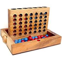 Logica Giochi, art. 4 EN RAYA – Juego de mesa plegable de madera de Teca
