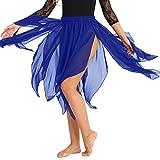 iiniim Damen Rock Chiffon Ballett Tanzrock Asymmetrisch Rock Latein Tanzbekleidung Blau Einheitsgröße
