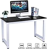 Computer Desk,LASUAVY Office Study Desk Computer PC Laptop Table Workstation with Steel Frame for Home Office (Black)