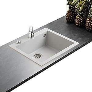 Évier granit gris métal Ewi URBIA 1 bac 610x500