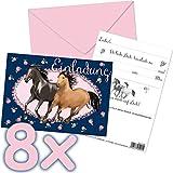 16-teiliges Set: 8 Einladungskarten mit 8 Umschläge * TAPIRELLA PFERDE * für Kindergeburtstag vom Lutz Mauder Verlag//25921//Mädchen Kinder Geburtstag Einladung Karten Pony