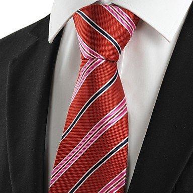Handgemachte Weiß-gestreift Seide Krawatte (FYios®Neue Weiß Schwarz gestreiften roten Männer Krawatte Krawatte Hochzeit Geschenk #1047)