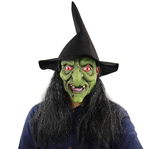 CJWLOY Scary Sorceress Halloween Kostüm Party Adult Horror Zauberin The Green Face Hexe Latex Masken