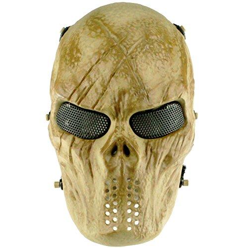 ft Paintball Schutzausrüstung mit Metallgitter Augenschutz Masken Guard Zombie Schädel Skeleton Vollmaske für BB Gun Hunting Cs Spiel Cosplay Halloween Party (Schädel) ()