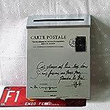 Briefkasten im Landhaus-Stil, klein, Mitteilungsbox aus Eisenblech, Wahlurne, ohne Schloss, Stil: Vintage, weiß
