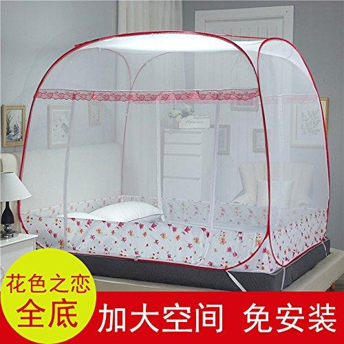 Preisvergleich Produktbild Mayihang Moskitonetz Mongolei Netze drei Tür 1.2 Meter freie Installation von 1.5 Party oben Reißverschluss unten Klappbare 1,8 m Doppelbett Home, die Liebe der Rot - Alle unten, 1,2 m (4 Fuß) Bett