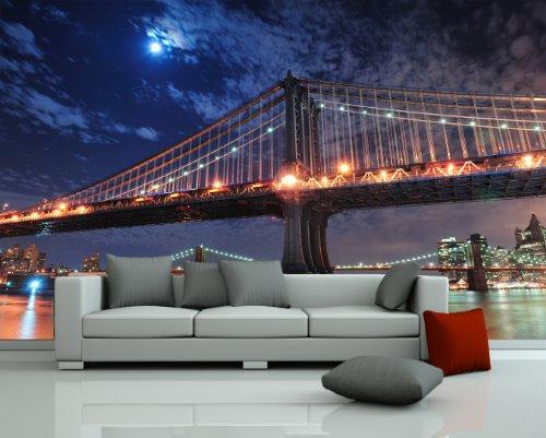 Bilderdepot24 Fototapete selbstklebend New York City Bridge - 420x270 cm - Wandposter Tapete Motivtapete - Manhattan Bridge Hängebrücke Brooklyn East River - Brooklyn Bridge, Suspension Bridge