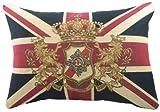 Evans Lichfield Union Jack Gefülltes Tapisserie-Kissen mit Löwenwappen, 45,7 x 33cm