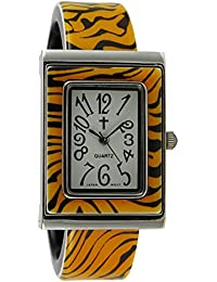 Creencia mujer   Patrón de tigre, cara rectangular de plástico reloj de pulsera con cruz