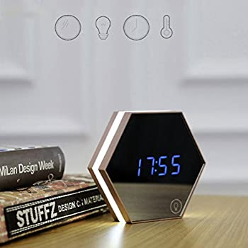ROSENICE Sechseckige Spiegel + Thermometer Touch LED Nacht Licht digitaler Alarm Clock(Gold)