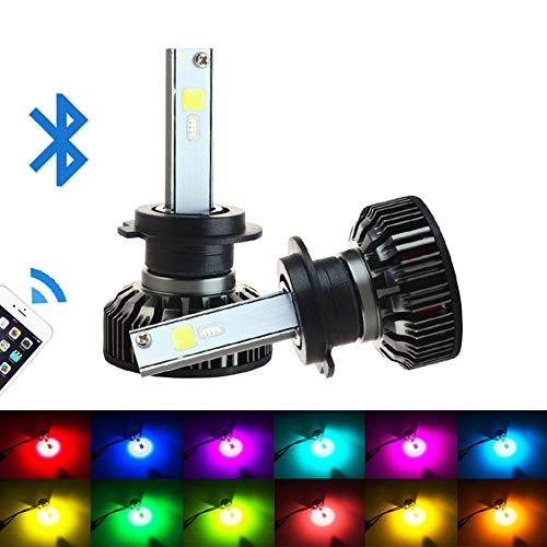 LJP RGB fari Colorati, luci del Telefono Cellulare Bluetooth App modificati fari Chip proiettore COB Lampada Perline Anteriore Luce lampadine 5400lm off-Road (Confezione da 2),H11/H9/H8